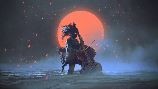 Mysterious Man Sitting on a Chair Playing the Cello in the Sea Against the Night Sky with the Red Moon