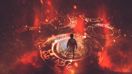 Boy Walking on Magic Circle